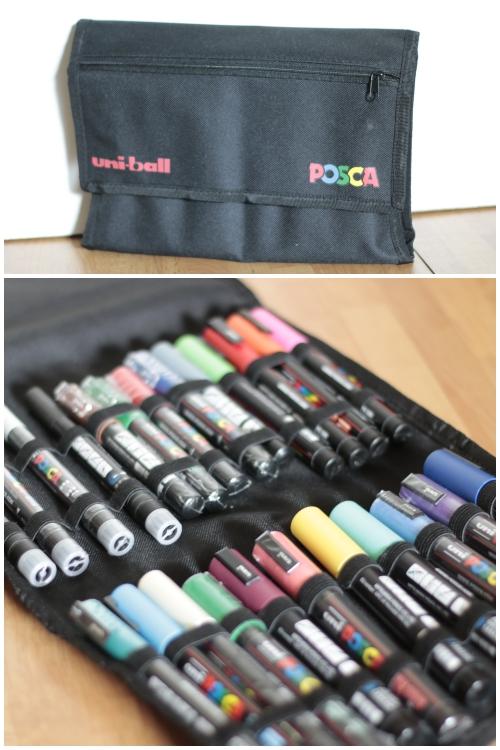 Das Mäppchen mit einer Auswahl von Posca Markern
