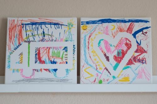 Die fertigen Kunstwerke - Leinwandbilder mit Posca Markern
