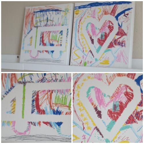 Malen mit zwei Kleinkindern - Leinwandbilder mit Posca Markern