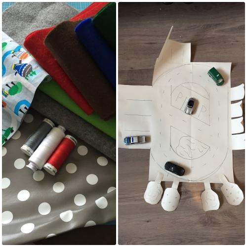 Stoffe und Papierplan - Auto-Spiele-Tasche für unterwegs nähen