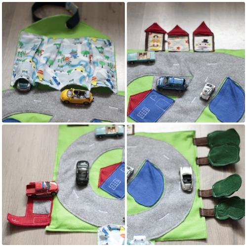 Alle vier Ränder mit der Garage, den Häusern, der Feuerwehrstation und den Bäumen - Auto-Spiele-Tasche für unterwegs nähen