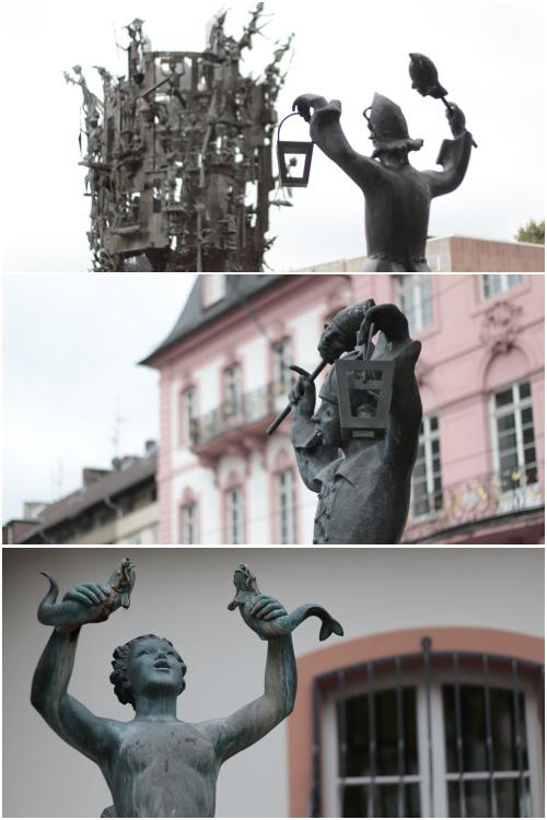 Fastnachtsbrunnen, Till neben dem Fastnachtsbrunnen und der kleine Brunnen hinter dem Osteiner Hof am Beginn der Gaustraße - Best of Mainz Photo Walk - diephotographin