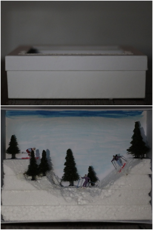 Winter Diorama - Pappschachtel und Innenansicht - diephotographin