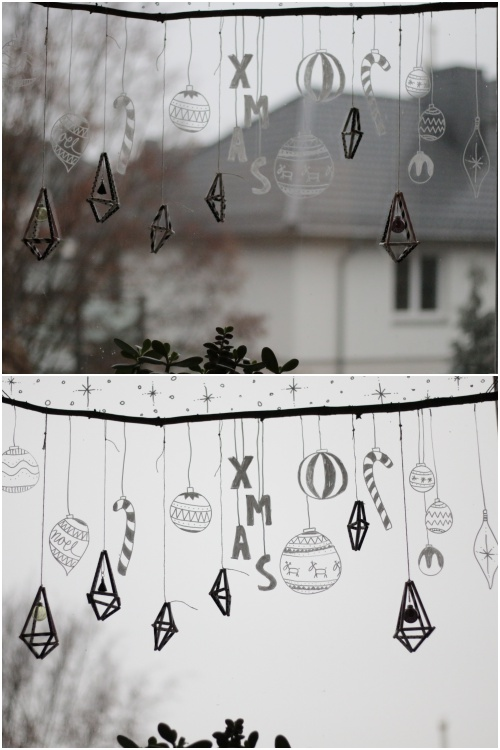Strohhalmdiamanten im Weihnachtsfenster mit Kreidemarker - diephotographin