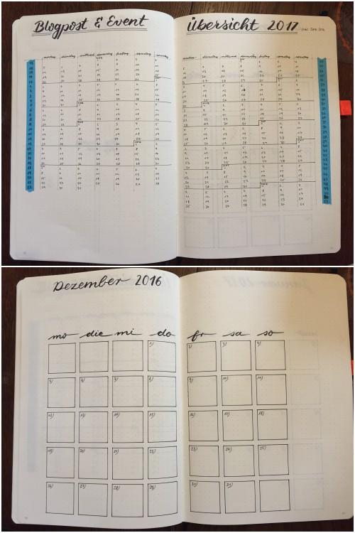 oben: Blogpost und Event Übersicht | unten: Monatsübersicht - Bullet Journal für Blog und Business - diephotographin
