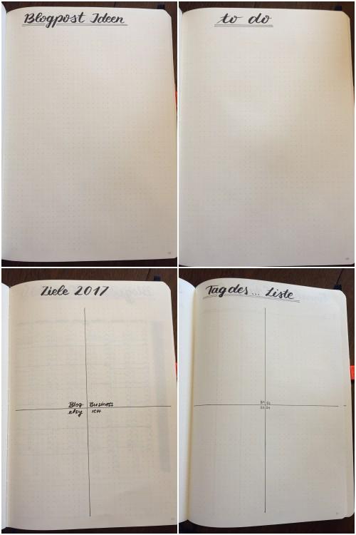 oben: Blogpost Ideen | to do Liste | unten: Ziele 2017 | Tag des ... Liste - Bullet Journal für Blog und Business - diephotographin