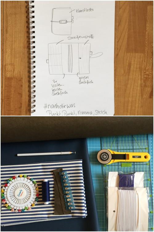 Erste Entwürfe mit Bleistift und alle Materialien (blaues Kunstleder, brauner SnapPap, blau-weisser Streifenstoff) - DIY Fauxdori aus SnapPap, Kunstleder und Streifen-Stoff