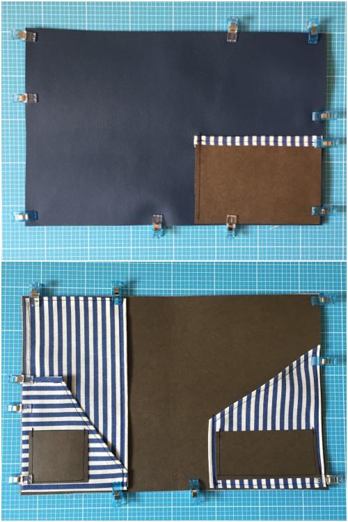 Alle Teile vorbereitet und zusammen geklammert - DIY Fauxdori aus SnapPap, Kunstleder und Streifen-Stoff