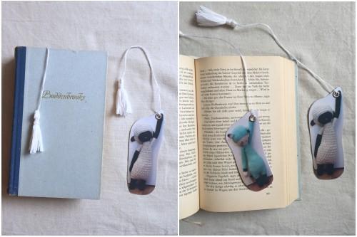 Die fertigen DIY Foto-Lesezeichen noch mal mit Buch.
