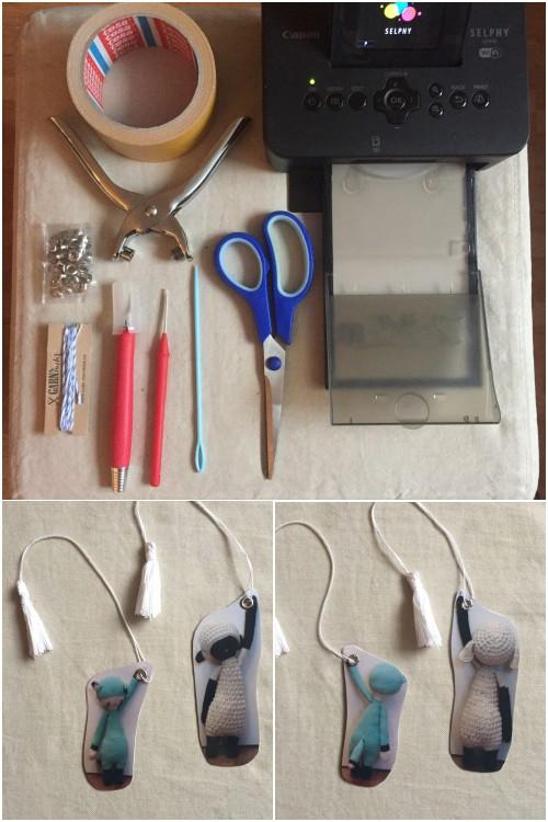 Alles was man für ein DIY Foto-Lesezeichen braucht und die fertigen Foto-Lesezeichen mit den beiden Kuscheltieren.