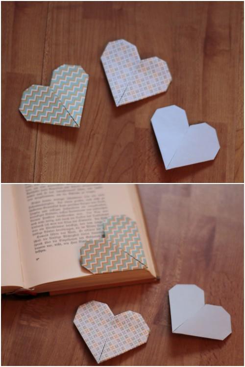 Origami Herzen als Buchecken Lesezeichen als schnelles DIY für den Valentinstag