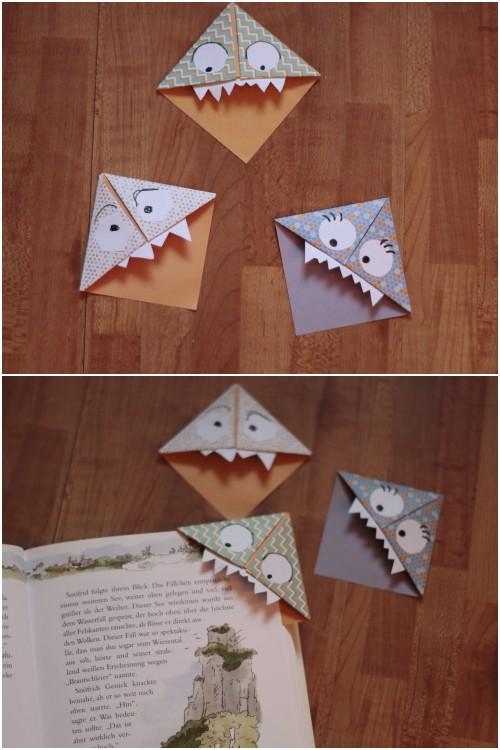 Origami Monster Bucheckenlesezeichen als schnelles DIY für einen alternativen Valentinstag