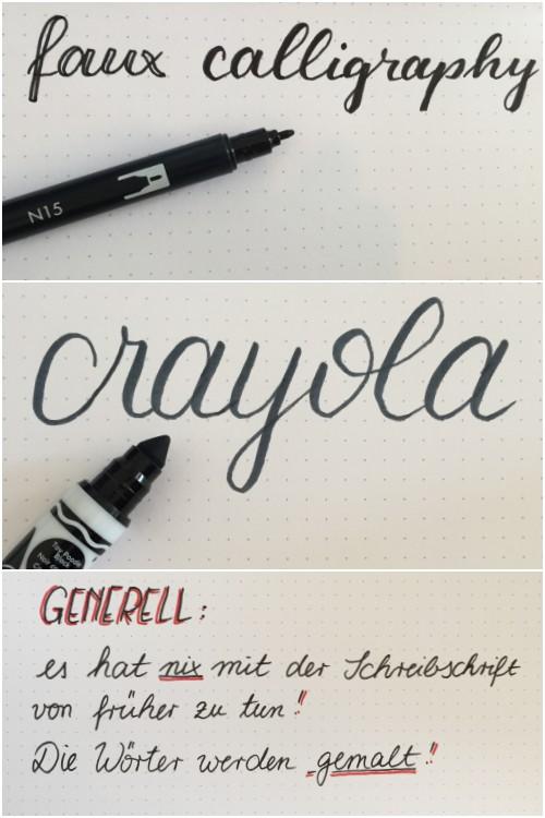 Faux Calligraphy Beispiele mit einem Filzstift und einem Crayola Kinderstift