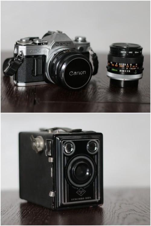 oben: meine erste Spiegelreflex, eine Canon AT-1 und unten: eine Agfa Box - Sammelleidenschaft alte Kameras - diephotographin