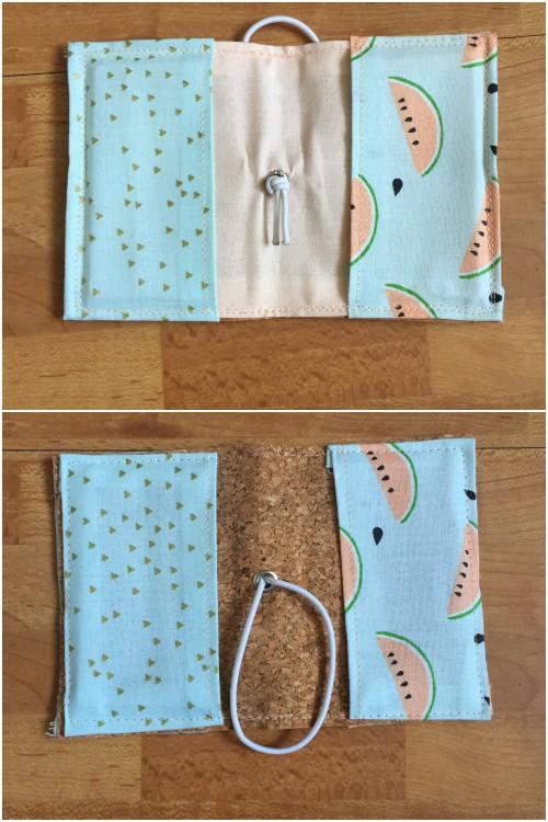 Kleines Kartenetui mit Korkstoff für #naehdirwas in Pastell - aufgeklappt innen und außen - diephotographin