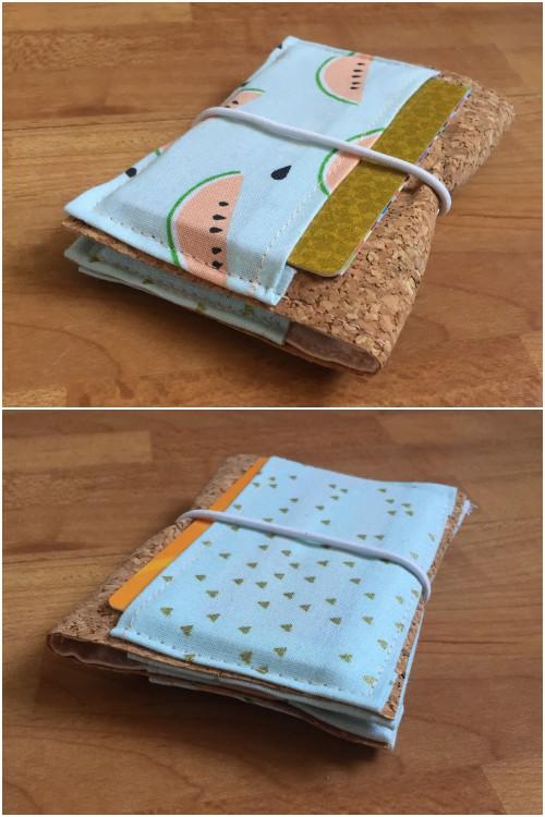 Kleines Kartenetui mit Korkstoff für #naehdirwas in Pastell - mit Karten befüllt vorne und hinten - diephotographin