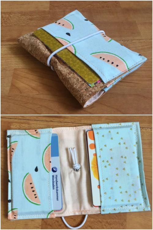 Kleines Kartenetui mit Korkstoff für #naehdirwas in Pastell - mit Karten befüllt vorne und offen - diephotographin