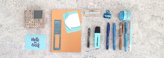 Notizbuch, Stifte, Washi Tape, Stempel und noch vieles mehr.
