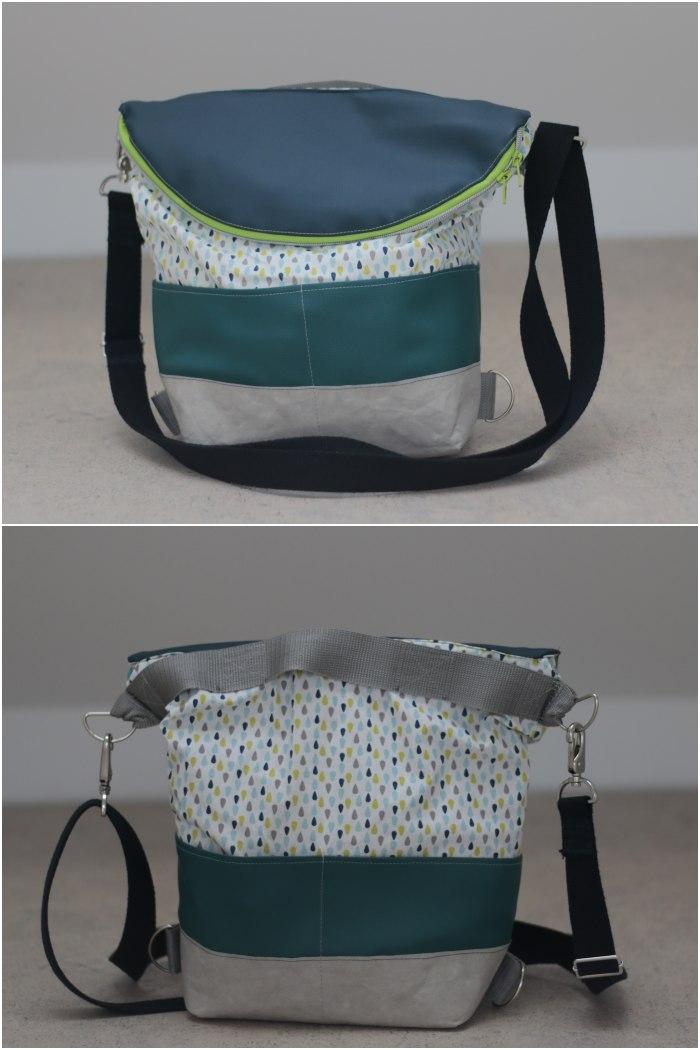 Meine eierlegende Wollmilchsau-Tasche von vorne und hinten in der Messengerbag Trage-Variante.