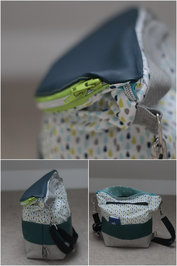 Meine eierlegende Wollmilchsau-Tasche - Detail des umlaufenden Reißverschlusses an der Klappe, von der Seite und offen.