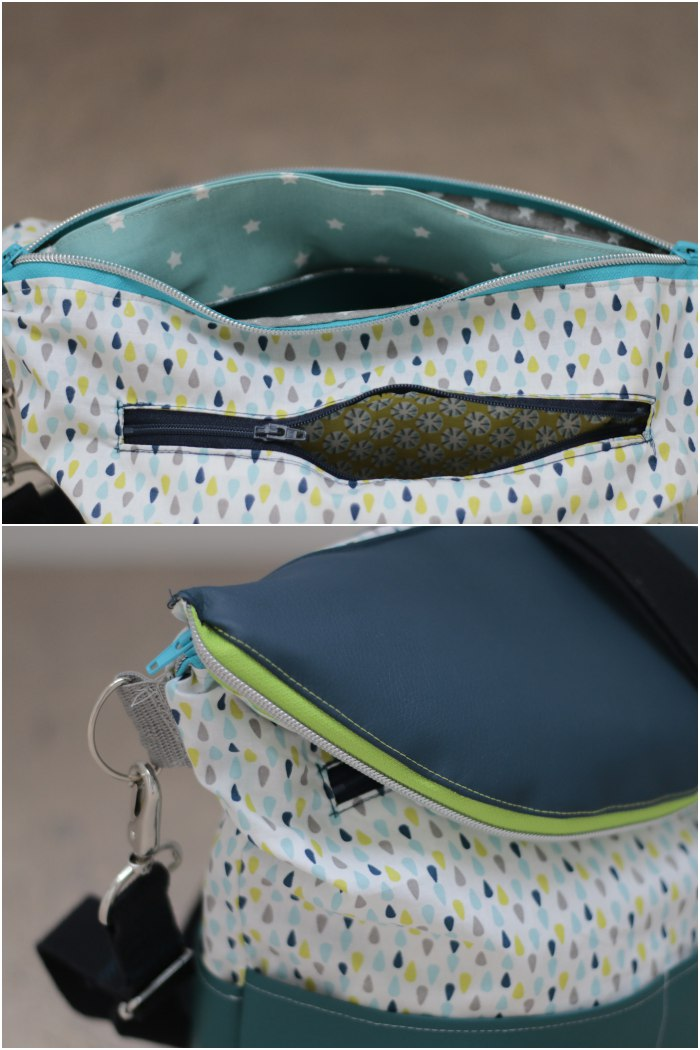 Meine eierlegende Wollmilchsau-Tasche - mit SnapPap gefüttertes Innenfach und Detail des umlaufenden Reißverschlusses an der Klappe.