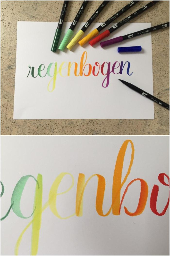 Das Wort Regenbogen mit Tombow Pinselstiften gelettert