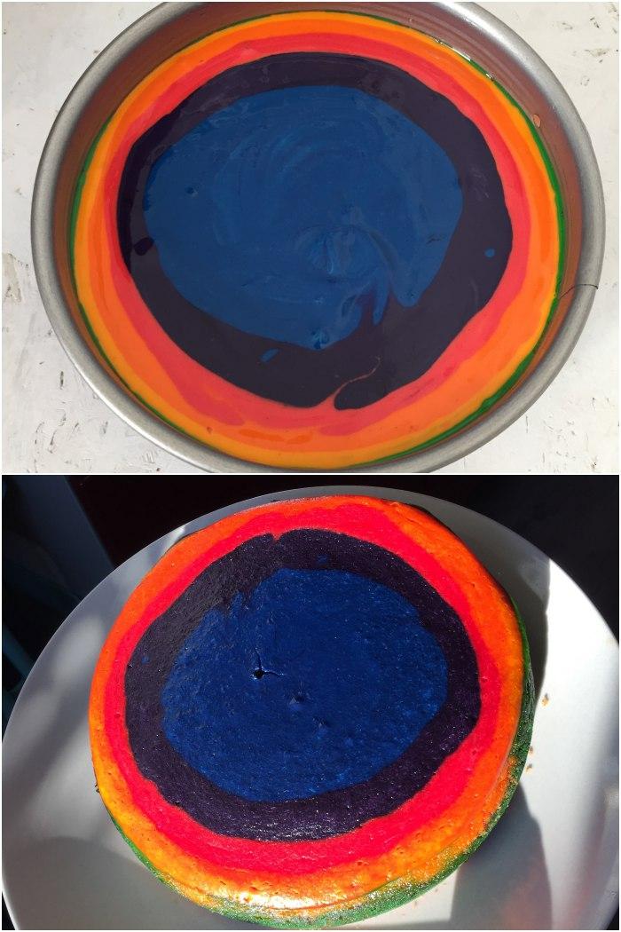 Vor und nach dem Backen - Regenbogen Käsekuchen für das Lecker für jeden Tag Thema: Genuss in allen Farben - diephotographin