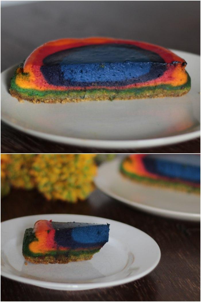 Von innen - Regenbogen Käsekuchen für das Lecker für jeden Tag Thema: Genuss in allen Farben - diephotographin