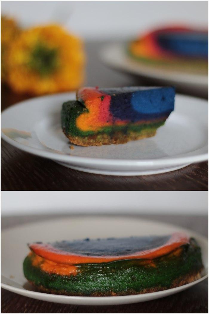 Von der Seite und von hinten - Regenbogen Käsekuchen für das Lecker für jeden Tag Thema: Genuss in allen Farben - diephotographin