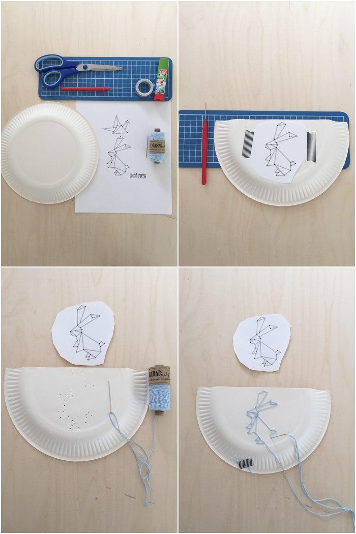 DIY Pappteller Utensilo mit gesticktem Origami Hasen. Kurz-Anleitung in Bildern (von oben links nach unten rechts): Übersicht über alle benötigten Materialien | die Vorlage auf dem abgeschnittenen Pappteller befestigen und alle Eckpunkte lochen | mit einer Sticknadel und dem Garn alle Linien entlang sticken, wie auf der Vorlage