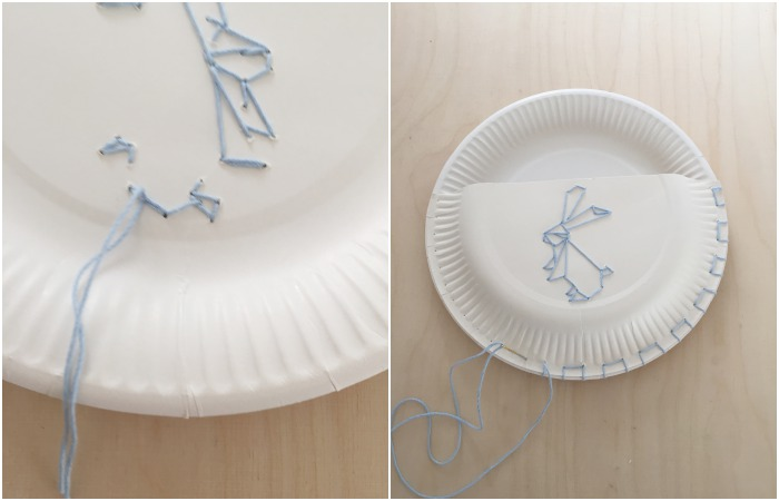 DIY Pappteller Utensilo mit Origami Hasen bestickt. Kurz-Anleitung in Bildern (von links nach rechts): die Enden werden hinten zusammen geknotet | den Rand habe ich auch noch gestickt