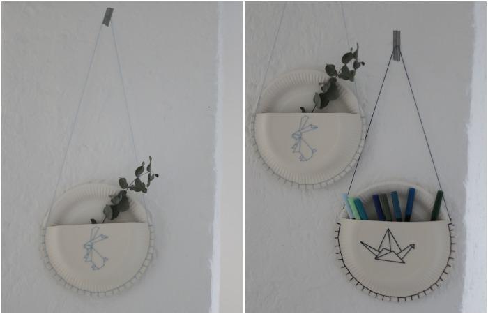 DIY Pappteller Utensilo mit gesticktem Origami Hasen und Kranich.
