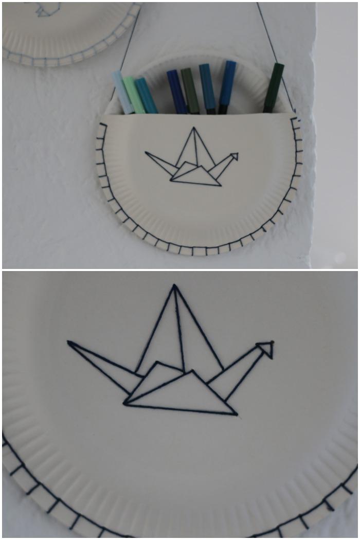 DIY Pappteller Utensilo mit gesticktem Origami Kranich.