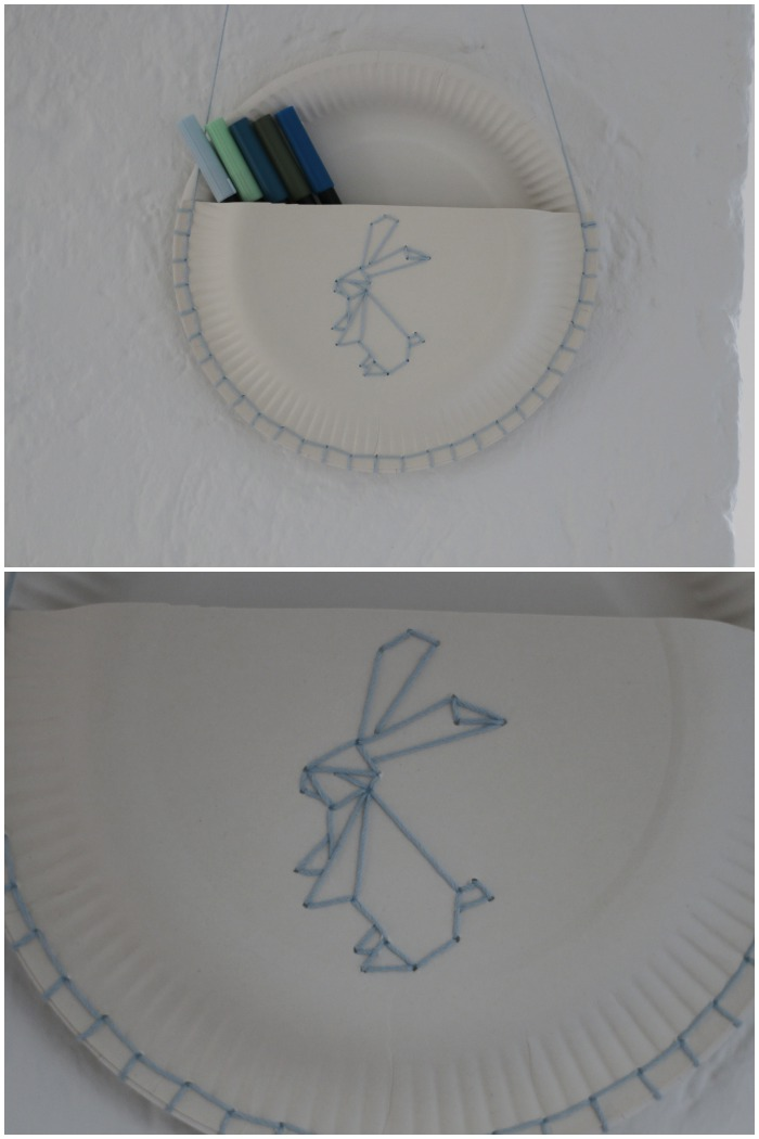 DIY Pappteller Utensilo mit gesticktem Origami Hase.