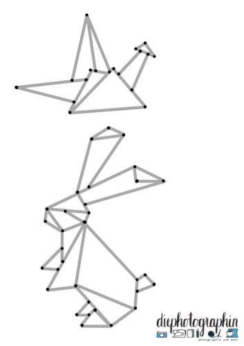 Origami Vorlage Kranich und Hase mit markierten Eckpunkten.