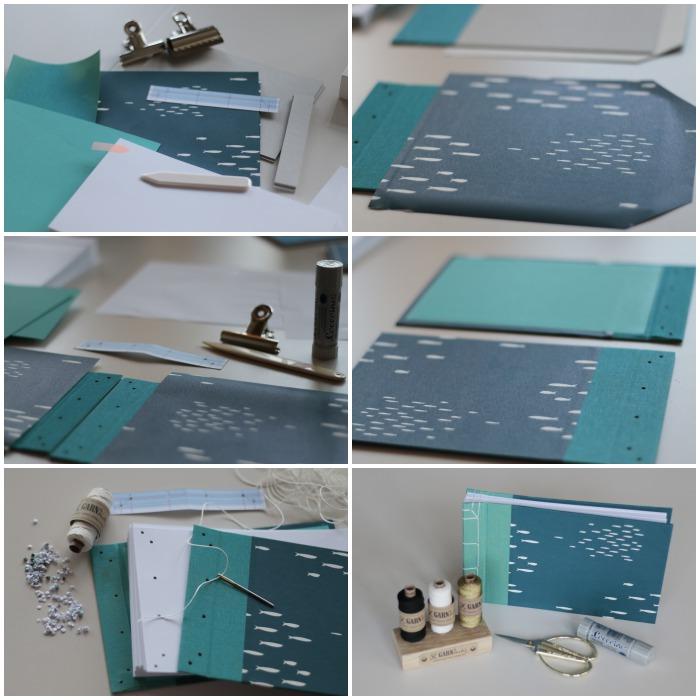 Alle Arbeitsschritte im Workshop japanisches Buchbinden mit Miss Red Fox bei Pixum - Auswahl der Materialien, Buchleinen aufkleben und kaschieren der Pappe mit dem schönen (Japan) Papier, einfarbiges Papier auf der Innenseite von Deckel und Rücken aufkleben, Lochen aller Seiten, Deckel und Rücken, nähen der japanischen Buchbinden, mein fertiges Fotoalbum - diephotographin