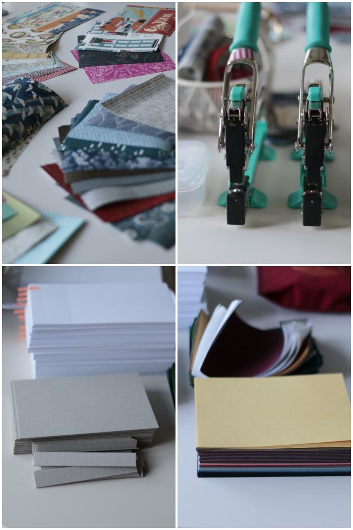 Alle Materialien und Werkzeuge für den Workshop japanisches Buchbinden mit Miss Red Fox bei Pixum - Japanpapiere, Crop-a-dile Big Bite Zangen, Seiten und Pappe für Deckel und Rückseite, Buchleinen und ein schönes Papier für die Innenseiten von Deckel und Rückseite - diephotographin