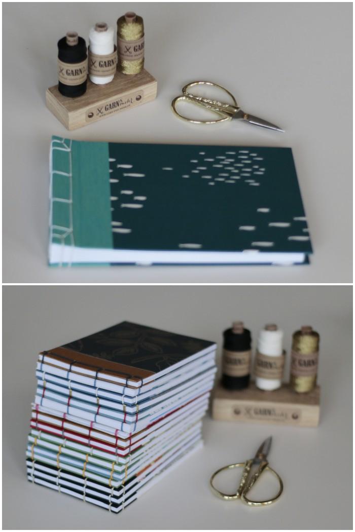 Mein fertiges Fotoalbum und die Inspirations-Notizbücher beim Workshop japanisches Buchbinden mit Miss Red Fox bei Pixum - diephotographin