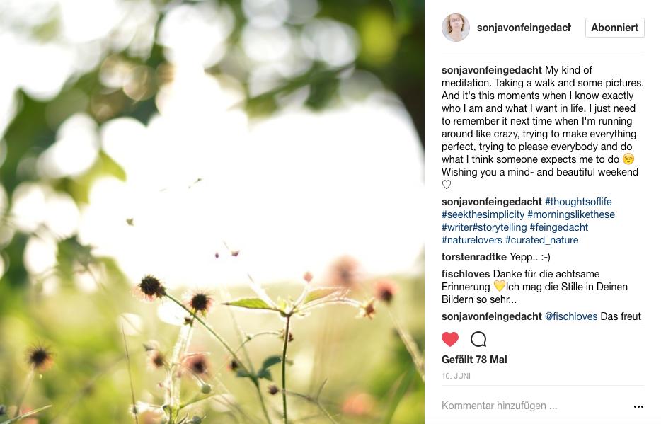 Screenshot Instagram Beitrag von Sonja (mit Klick aufs Bild landet ihr bei Sonjas Instagram) - Foto: © Sonja von feingedacht