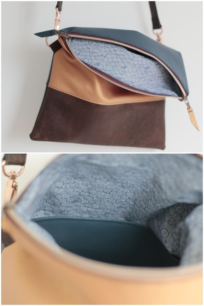 Ansicht mit Innenfutter und Innentasche - Clutch mit abnehmbarem Schultergurt aus kupferfarbenem und blauem Kunstleder kombiniert mit Kork und Schnallen und Reißverschluss in Kupfer - diephotographin