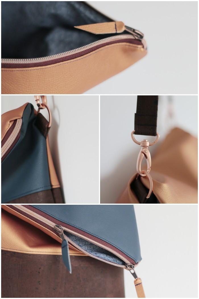 Ansicht kupferfarbene Details - Clutch mit abnehmbarem Schultergurt aus kupferfarbenem und blauem Kunstleder kombiniert mit Kork und Schnallen und Reißverschluss in Kupfer - diephotographin