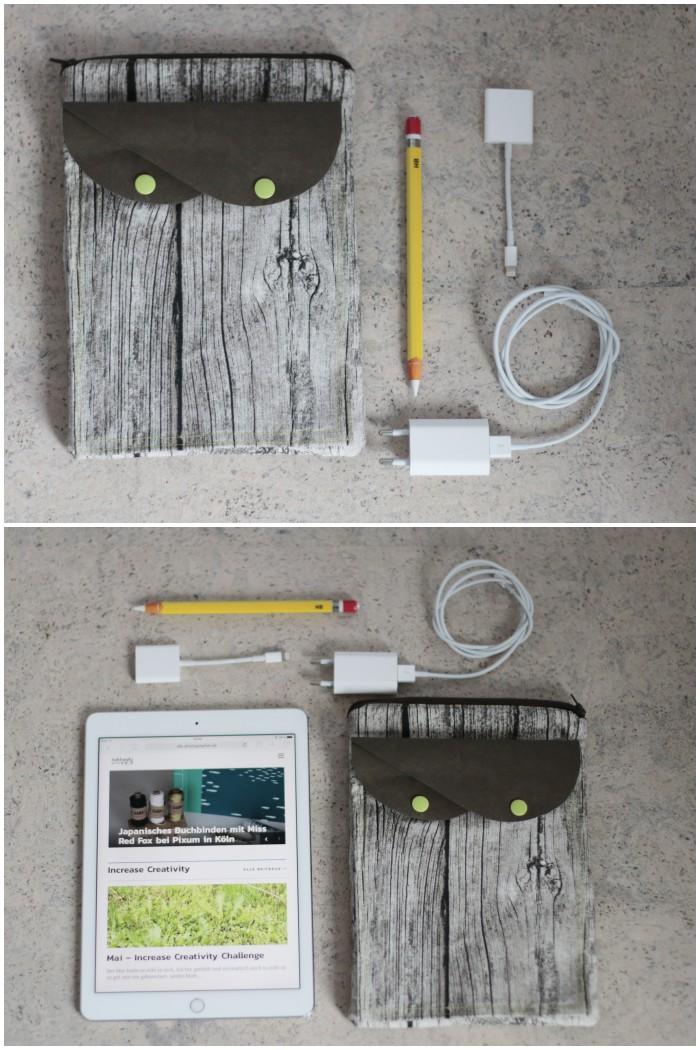 iPad Tasche mit Zubehörfächern aus Ikea-Stoffen und SnapPap - Außenansicht und Inhalte aller Fächer.