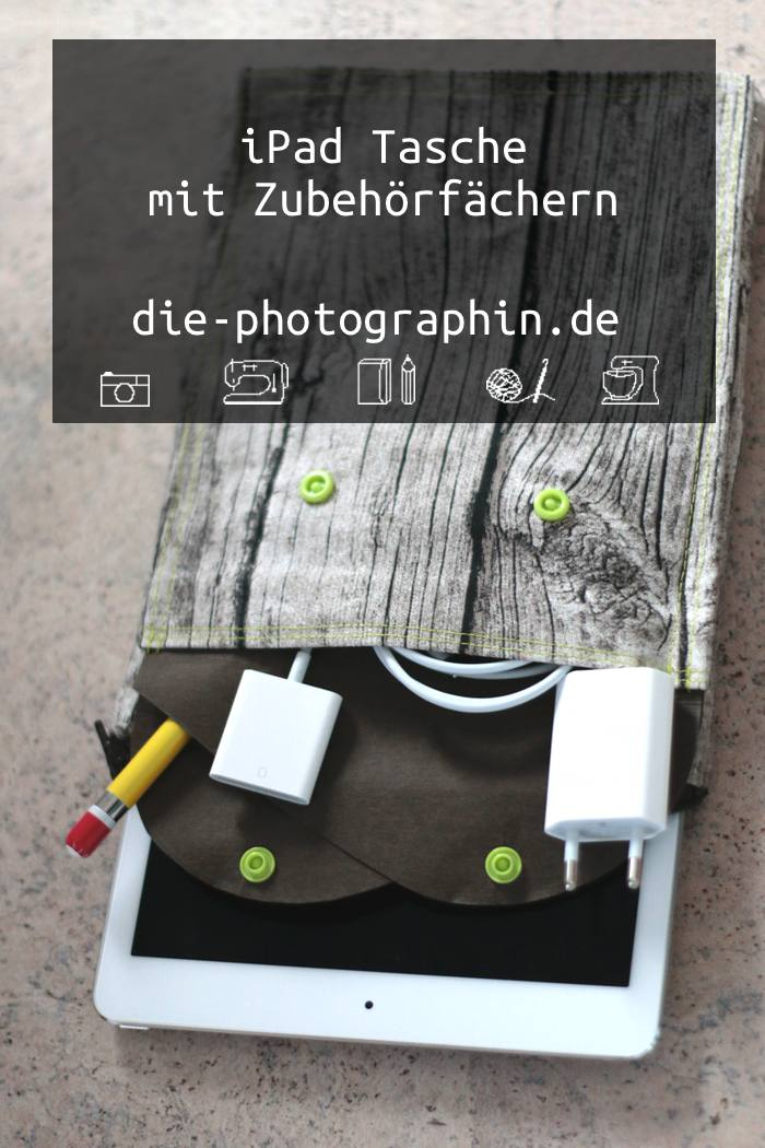 iPad Tasche mit Zubehörfächern aus Ikea-Stoffen und SnapPap