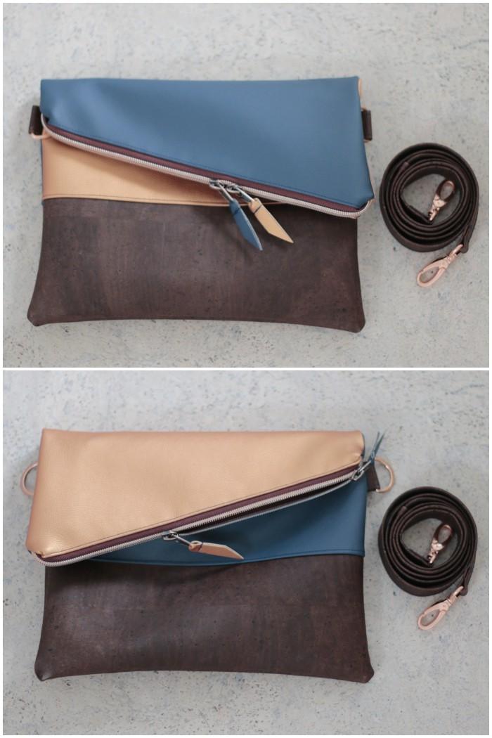 Ansicht ohne Gurt - Clutch mit abnehmbarem Schultergurt aus kupferfarbenem und blauem Kunstleder kombiniert mit Kork und Schnallen und Reißverschluss in Kupfer - diephotographin