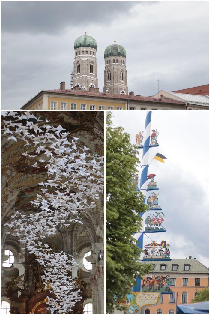 Blick auf die Türme der Frauenkirche, die Papiervögel (Tauben) in Heilig Geist und der Viktualienmarkt - Kultur in München - Mein Sommer Blogparade - diephotographin