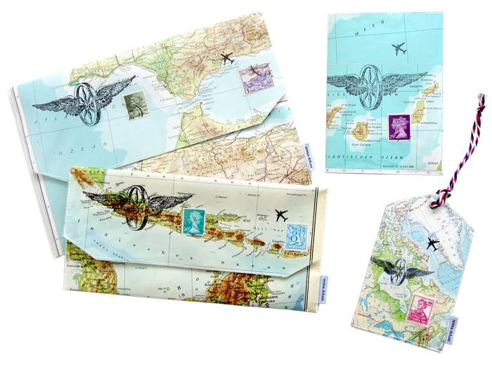"""Reise Accessoires aus Landkarten – (mit Klick aufs Bild landet ihr auf der Produktseite """"Reisen"""") Foto: © Christiane Hübner"""