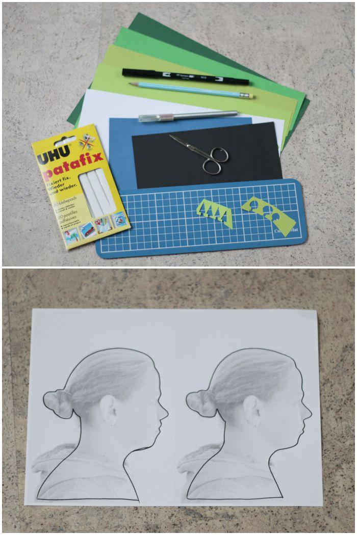 Material für ein Portrait mit Scherenschnitt und Papercut - #12giftswithlove - diephotographin