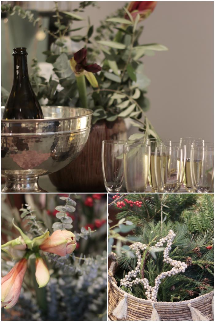 Sektempfang und jede Menge Zweige, Beeren und Blumen für die DIY Adventskränze beim Blogger Breakfast Go local - diephotographin