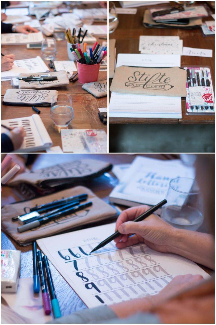 Die Teilnehmer üben fleißig - Handlettering Workshop mit Anna Schneider in Wiesbaden organisiert von Increase Creativity - diephotographin