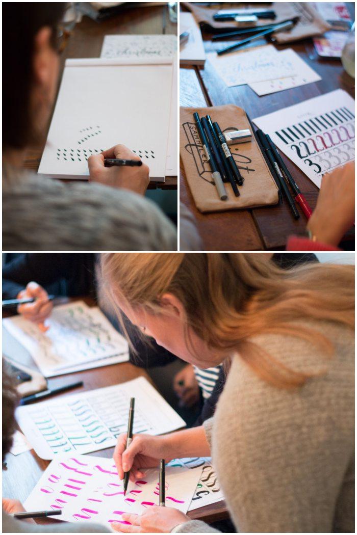 Anna gibt Tipps zur Stiftehaltung - Handlettering Workshop mit Anna Schneider in Wiesbaden organisiert von Increase Creativity - diephotographin